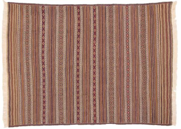 Afghan Mushwani Kelim 181x130 Handgewebt Teppich 130x180 Mehrfarbig Linien Handarbeit