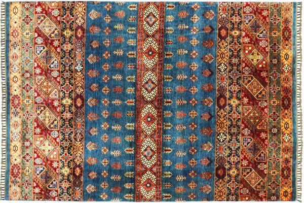 Afghan Khorjin Shaal 232x177 Handgeknüpft Orientteppich 180x230 Blau Streifen Wolle