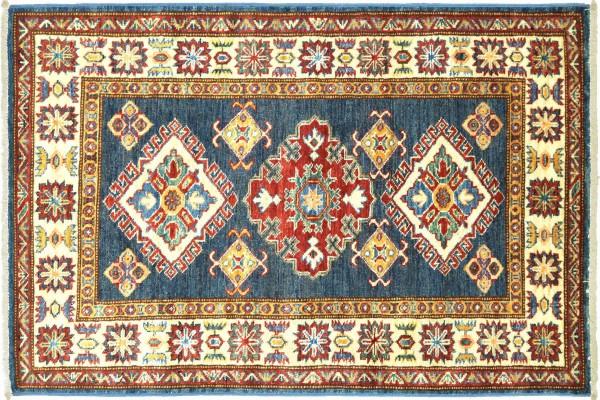 Afghan Kazak Fein 128x83 Handgeknüpft Orientteppich 80x130 Blau Umrandung Wolle