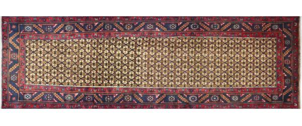 Perser Hamedan Teppich 90x280 Handgeknüpft Läufer Braun spiegelmuster Wolle Kurzflor