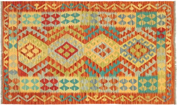 Afghan Maimana Kelim Bunt 150x104 Handgewebt Teppich 100x150 Bunt Geometrisch Orient