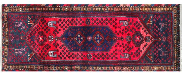 Perser Hamedan Teppich 80x280 Handgeknüpft Läufer Rot spiegelmuster Wolle Kurzflor Rug