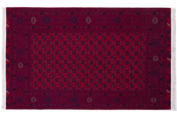 Afghan Orientteppich 195x118 Handgeknüpft Teppich 120x200 Rot Geometrisch Muster