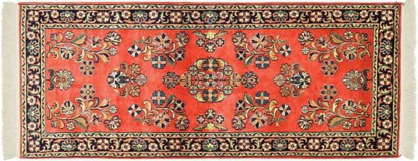 Sarough Teppich 80x180 Handgeknüpft Orange Floral Wolle Kurzflor Rug