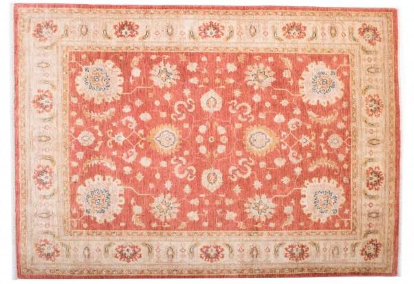 Afghan Chobi Ziegler Fein 203x143 Handgeknüpft Teppich 140x200 Beige Blumenmuster