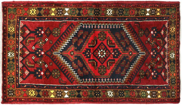 Perser Hamadan 154x95 Handgeknüpft Orientteppich 100x150 Rot Medaillon Wolle Kurzflor