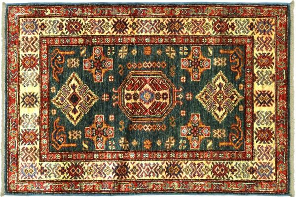 Afghan Kazak Fein 128x85 Handgeknüpft Orientteppich 90x130 Grau Umrandung Wolle