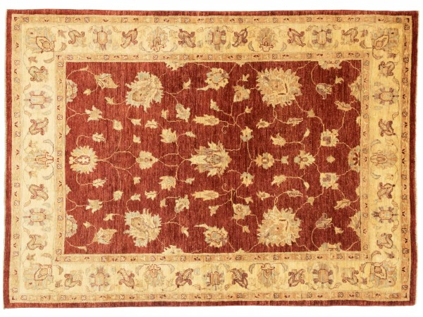 Afghan Chobi Ziegler 208x150 Handgeknüpft Teppich 150x210 Rot Blumenmuster Kurzflor