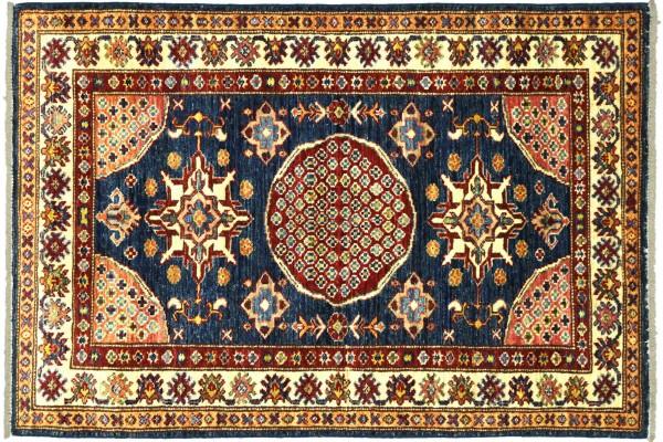 Afghan Kazak Fein 127x90 Handgeknüpft Orientteppich 90x130 Blau Umrandung Wolle