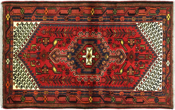 Perser Hamadan 143x101 Handgeknüpft Orientteppich 100x140 Rot Medaillon Wolle Kurzflor