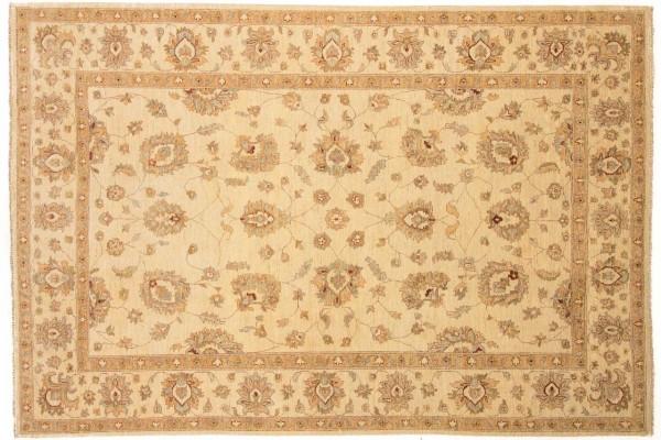 Afghan Chobi Ziegler 304x206 Handgeknüpft Teppich 210x300 Beige Orientalisch Kurzflor