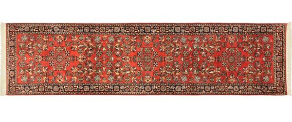 Sarough Teppich 80x290 Handgeknüpft Läufer Orange Floral Wolle Kurzflor Rug