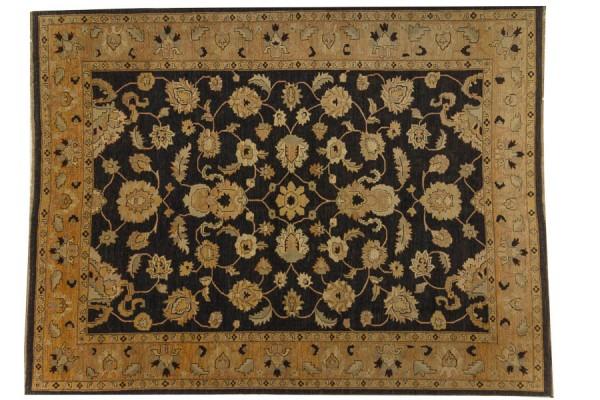 Afghan Chobi Ziegler 415x312 Handgeknüpft Teppich 310x420 Schwarz Orientalisch Kurzflor