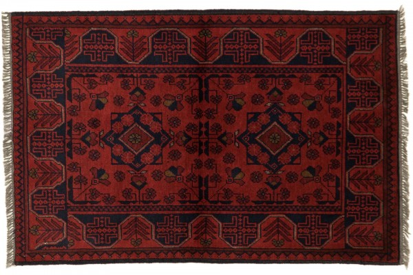 Afghan Khal Mohammadi 119x77 Handgeknüpft Teppich 80x120 Braun Geometrisch Muster