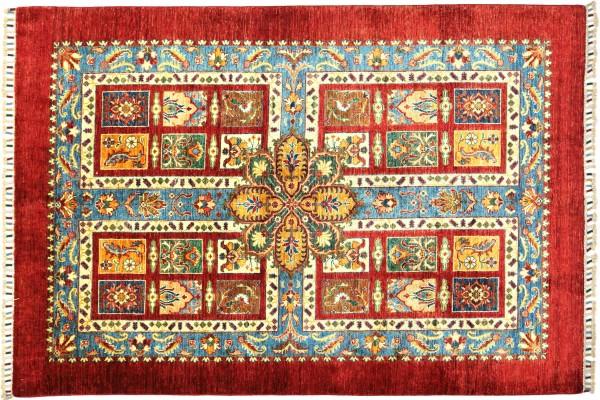 Afghan Ziegler Ariana Baum 202x146 Handgeknüpft Orientteppich 150x200 Rot Umrandung