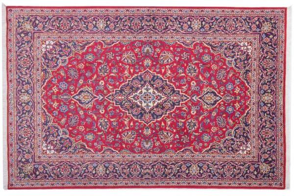 Perser Keshan alt 212x138 Handgeknüpft Teppich 140x210 Rot Orientalisch Kurzflor Orient