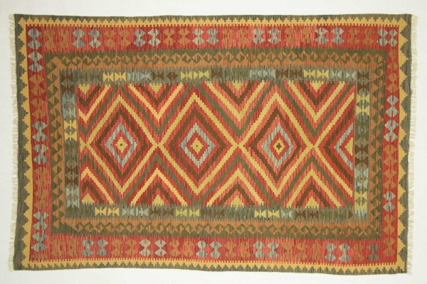 Afghan Maimana Kelim Bunt 251x164 Handgewebt Teppich 160x250 Beige Geometrisch Muster