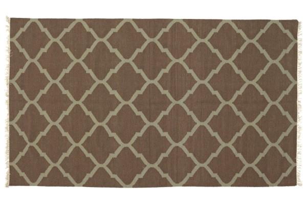 Kelim 270x170 Handgewebt Teppich 170x270 Braun Ornamente Handarbeit Orient Zimmer
