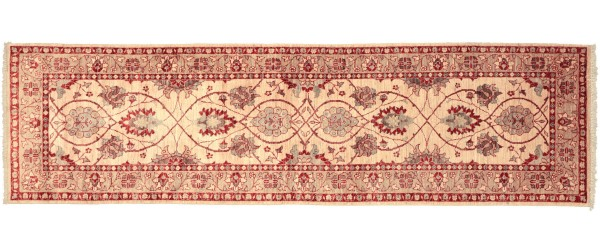 Afghan Chobi Ziegler 288x86 Handgeknüpft Teppich 90x290 Läufer Beige Orientalisch