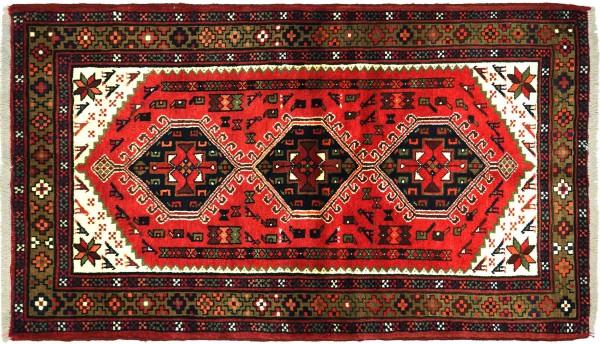 Perser Hamadan Vogel 155x100 Handgeknüpft Orientteppich 100x160 Rot Medaillon Wolle