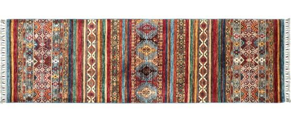 Afghan Ziegler Khorjin Teppich 80x250 Handgeknüpft Läufer Rot Geometrische Wolle