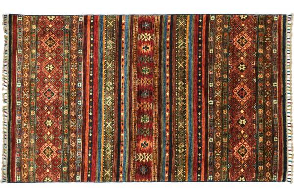 Afghan Khorjin Shaal 182x120 Handgeknüpft Orientteppich 120x180 Rot Floral Wolle