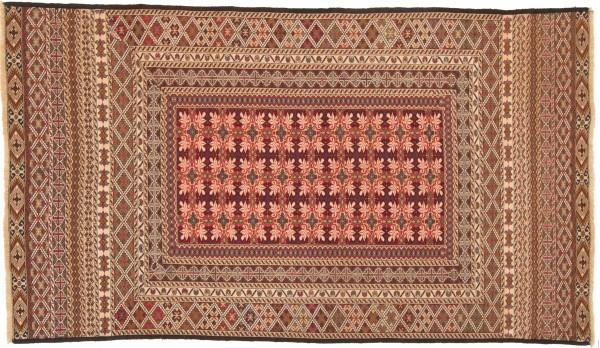 Afghan Mushwani Kelim 196x111 Handgewebt Teppich 110x200 Mehrfarbig Geometrisch Muster