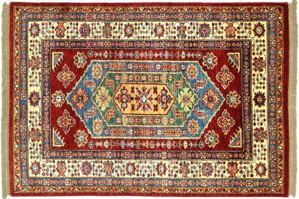 Afghan Kazak Fein 152x101 Handgeknüpft Orientteppich 100x150 Rot Umrandung Wolle