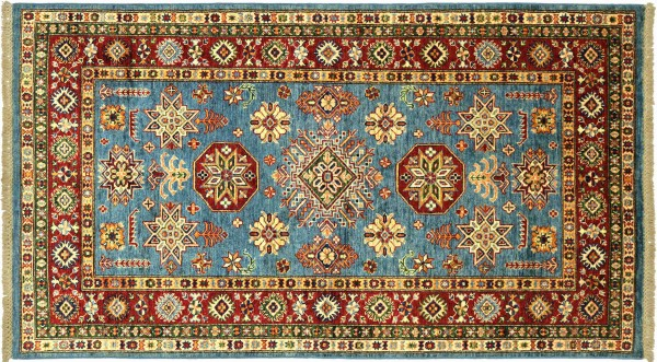 Afghan Kazak Fein 186x115 Handgeknüpft Orientteppich 120x190 Blau Umrandung Wolle