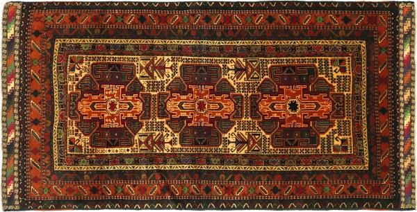 Afghan Belutsch Baluch 192x110 Handgeknüpft Orientteppich 110x190 Beige Geometrisch