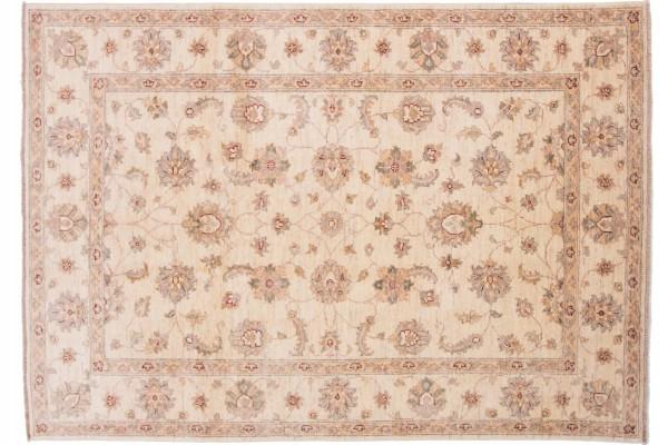 Afghan Chobi Ziegler 194x137 Handgeknüpft Teppich 140x190 Beige Orientalisch Kurzflor