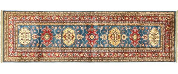 Afghan Kazak Fein 244x76 Handgeknüpft Orientteppich 80x240 Läufer Blau Geometrisch