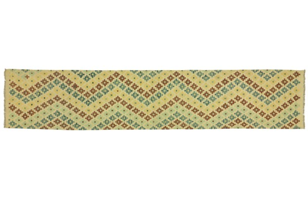 Afghan Maimana Kelim Bunt 400x87 Handgewebt Teppich 90x400 Läufer Bunt Geometrisch