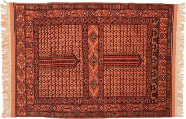 Afghan Mauri Kabul 155x117 Handgeknüpft Teppich 120x160 Gold Geometrisch Muster