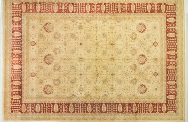 Afghan Chobi Ziegler 519x369 Handgeknüpft Teppich 370x520 Beige Blumenmuster Kurzflor