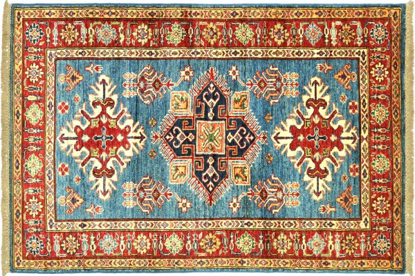 Afghan Kazak Fein 152x96 Handgeknüpft Orientteppich 100x150 Blau Umrandung Wolle