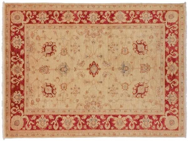 Afghan Chobi Ziegler 227x158 Handgeknüpft Teppich 160x230 Rot Blumenmuster Kurzflor