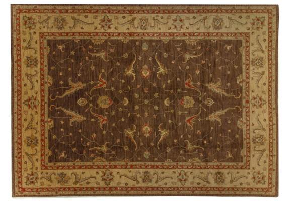Afghan Chobi Ziegler 416x307 Handgeknüpft Teppich 310x420 Braun Orientalisch Kurzflor