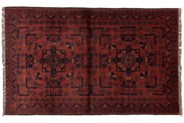 Afghan Khal Mohammadi 120x73 Handgeknüpft Teppich 70x120 Rot Geometrisch Muster