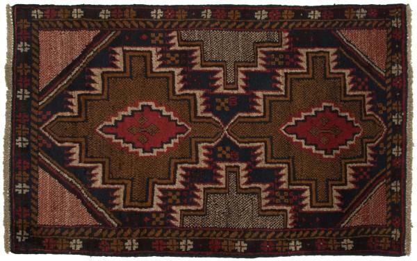 Afghan Belutsch 125x80 Handgeknüpft Teppich 80x130 Schwarz Geometrisch Muster Kurzflor