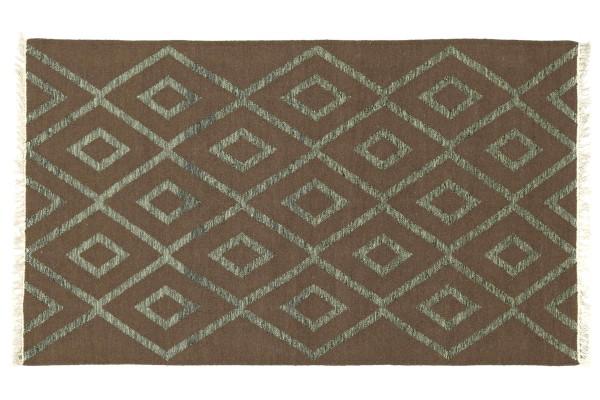 Kelim 180x120 Handgewebt Teppich 120x180 Braun Geometrisch Muster Handarbeit Orient