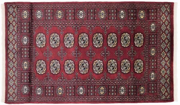 Pakistan Silk Touch 152x91 Handgeknüpft Teppich 90x150 Rot Orientalisch Kurzflor Orient