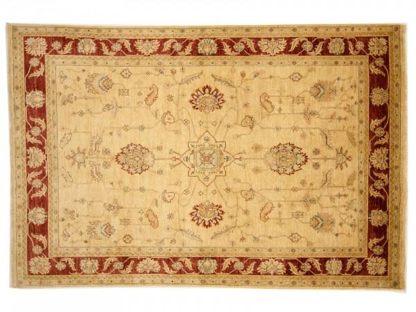 Afghan Chobi Ziegler 249x167 Handgeknüpft Teppich 170x250 Beige Blumenmuster Kurzflor