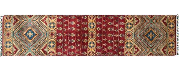 Afghan Khorjin Ziegler Floral Teppich 70x280 Handgeknüpft Läufer Rot Geometrische Wolle