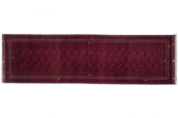 Afghan Kunduz 285x82 Handgeknüpft Teppich 80x290 Läufer Rot Orientalisch Kurzflor