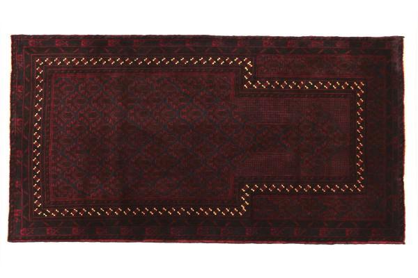 Afghan Belutsch Fein 130x80 Handgeknüpft Teppich 80x130 Rot Geometrisch Muster Kurzflor