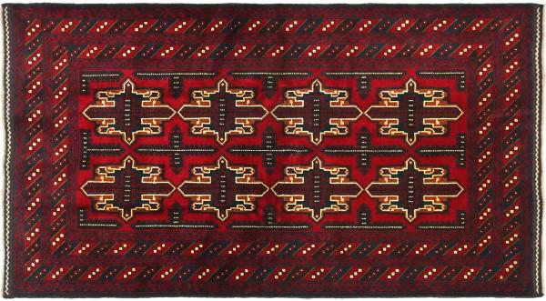 Afghan Belutsch Baluch 186x120 Handgeknüpft Orientteppich 120x190 Rot Durchgemustert