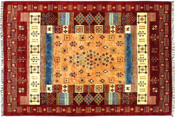 Afghan Ziegler Khorjin 241x175 Handgeknüpft Orientteppich 180x240 Rot Umrandung Wolle