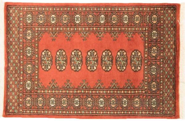 Pakistan Buchara 118x78 Handgeknüpft Teppich 80x120 Orange Geometrisch Muster Kurzflor