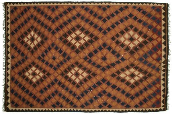 Afghan Maimana Kelim 230x165 Handgewebt Teppich 170x230 Orange Orientalisch Handarbeit